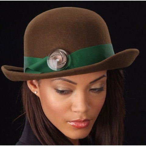 brown wool felt winter hats for women with green trim