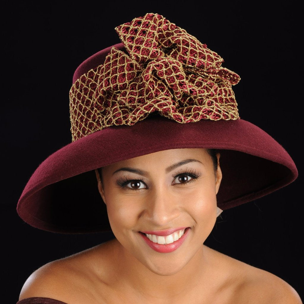 FW1139 Burgundy and gold wool dress hat - SHENOR COLLECTIONS