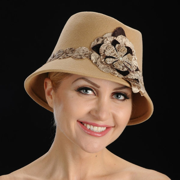 FW1122 Camel felt dress hat with velvet flower and trim - SHENOR COLLECTIONS