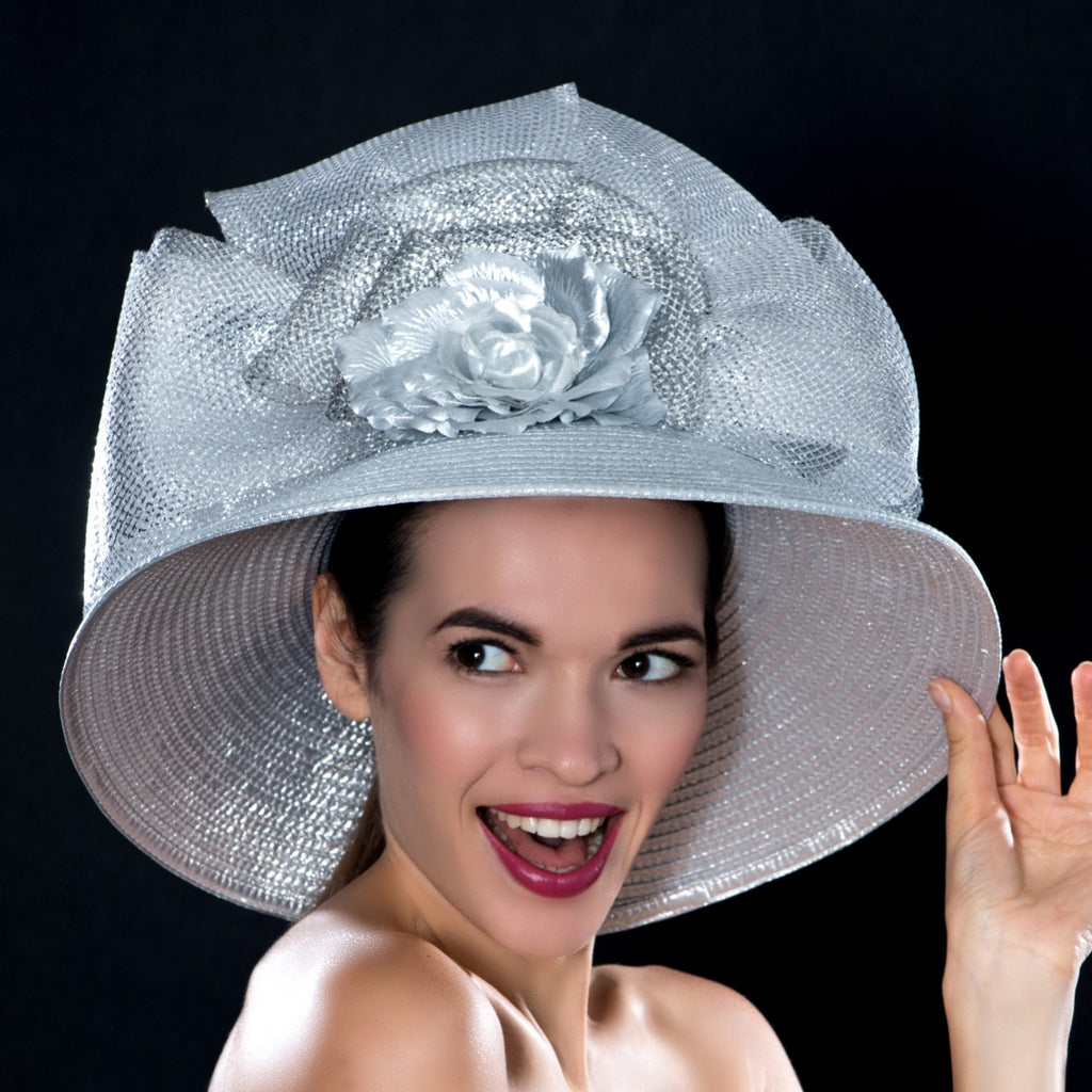 SG0461- Silver wide brim dress hat with horse haire and flower