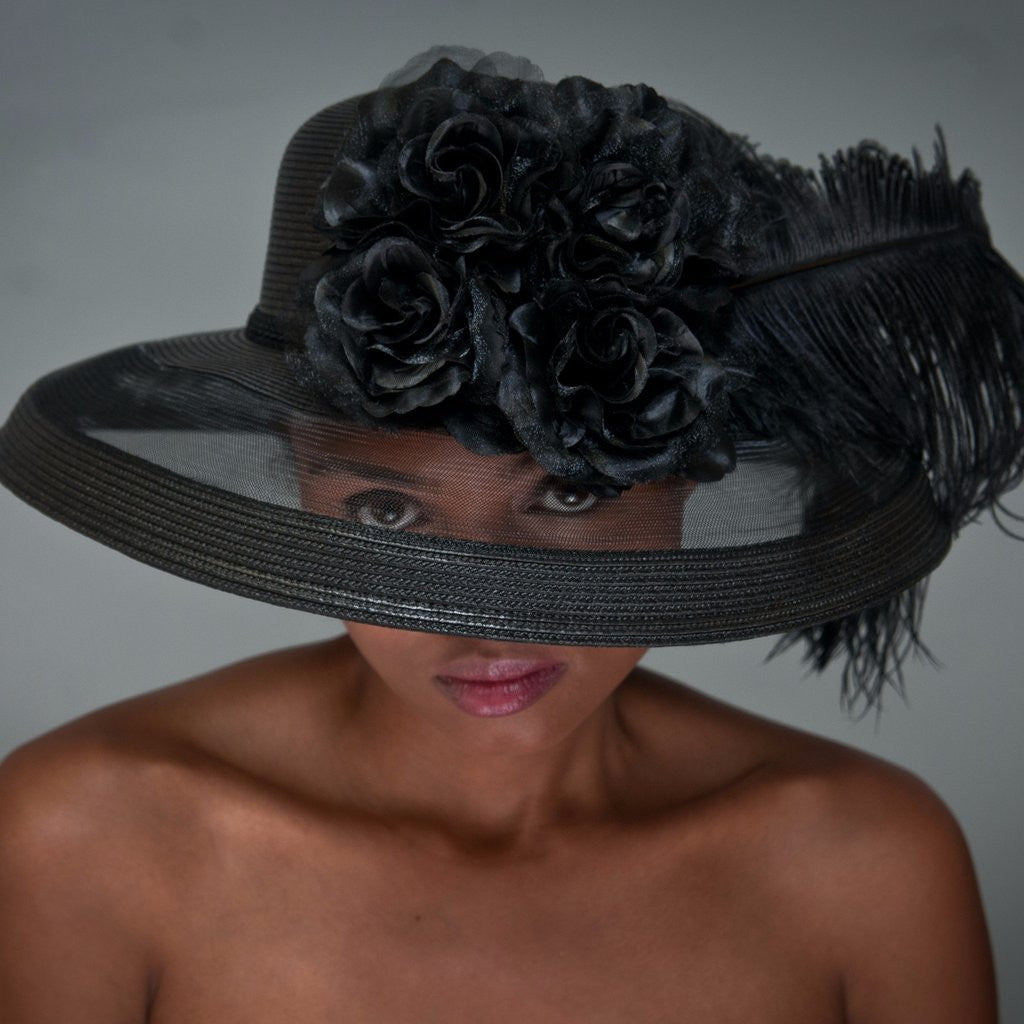 BW9999 Ostrich feather dress hats with flowers - SHENOR COLLECTIONS