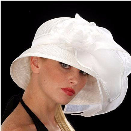 Designer ladies church hats in white with organza leaves