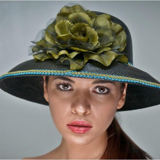 NA1013-Black hat with large flower - SHENOR COLLECTIONS
