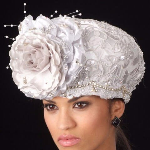 SG6024 satin silver fabric dress church hat with flower and RS - SHENOR COLLECTIONS