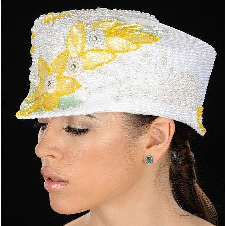 NA1023-Designer ladies hat with pearl trims and sequins design