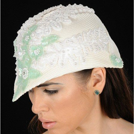 NA1024-Cream straw dress hat with pearls and sequins design - SHENOR COLLECTIONS