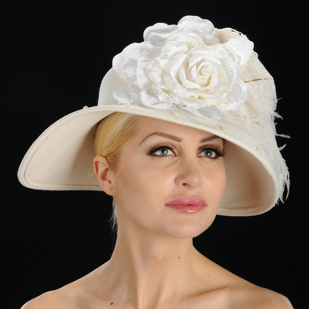 winter Ladies cream felt dress hat with feathers and velvet flower