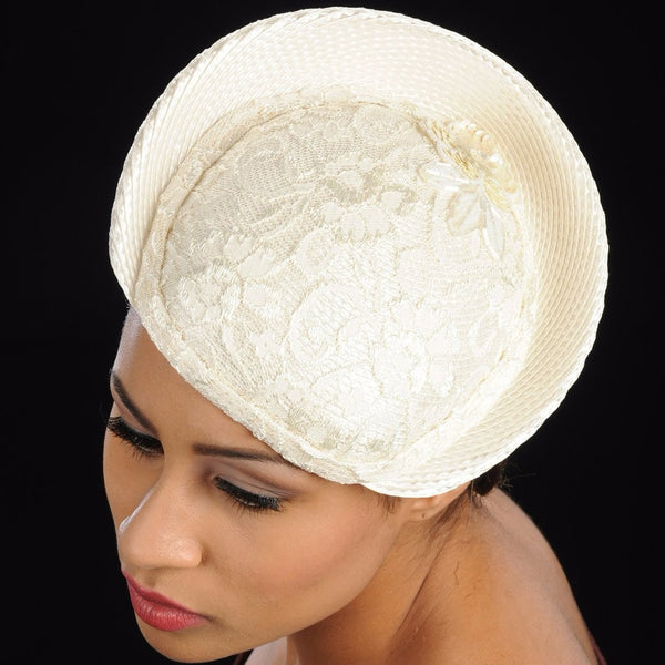 F6008-Cream straw fasinator covered with lace fabric