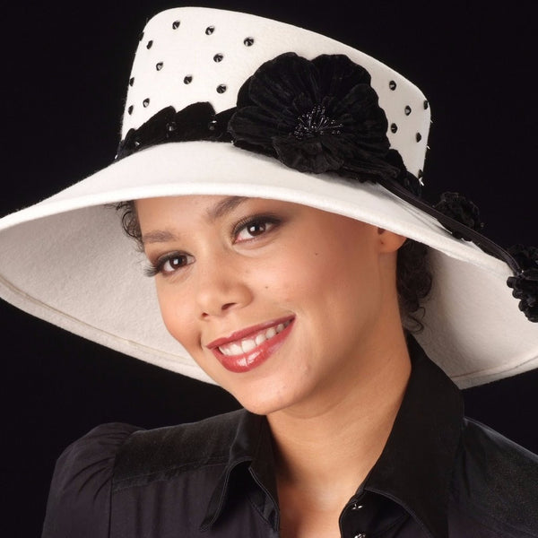 FW1137-Cream ladies felt hat with velvet flower and rhinestones - SHENOR COLLECTIONS