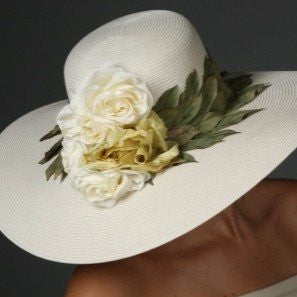 Elegant ladies straw tea party dress hat with leaf trims and flowers