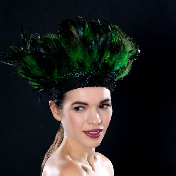 BW6403- Green and black feather dress hat with beaded button