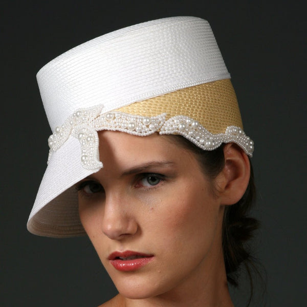 soft white and mustard color women's straw dress and church hats