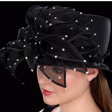 SS8777-Rhinestone church hats with organza fabric - SHENOR COLLECTIONS