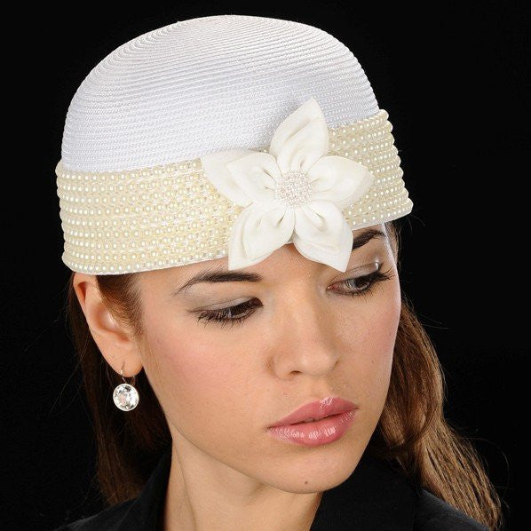 BW9015-White pearl straw dress hat - SHENOR COLLECTIONS
