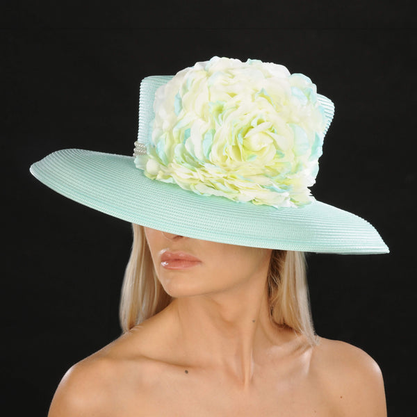 NA1054- Large flower women's dress hat - SHENOR COLLECTIONS