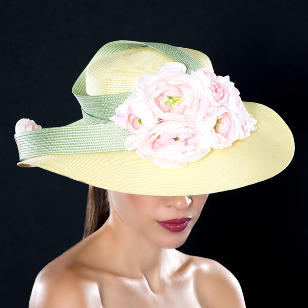 NA1073- Ladies pink flower dress hat.