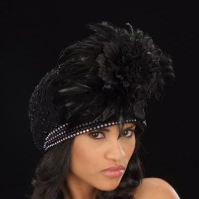 B59962-Ladies  black straw covered with beaded fabric and feathers
