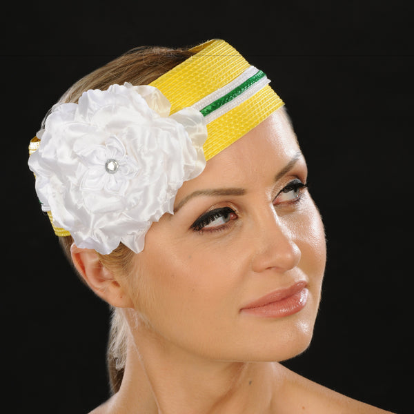 AC7035- Yellow open top hat for women