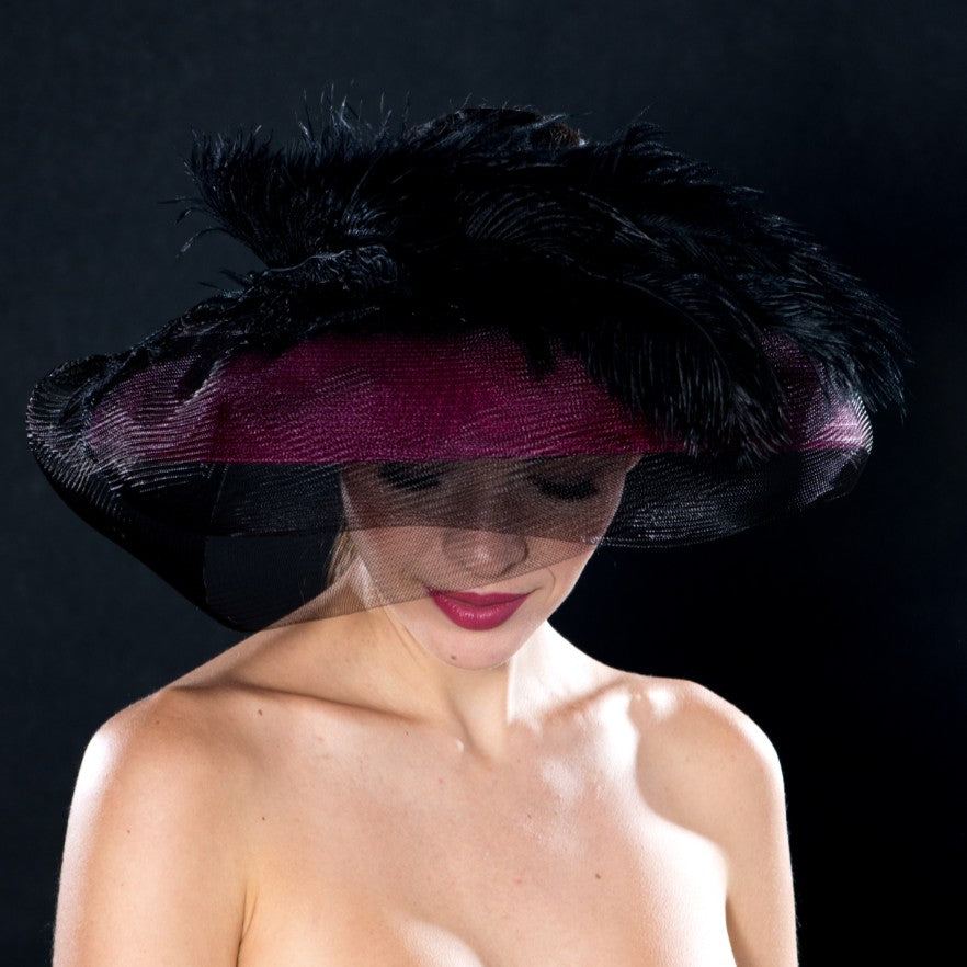 NA0045-Pink open top ladies dress hat