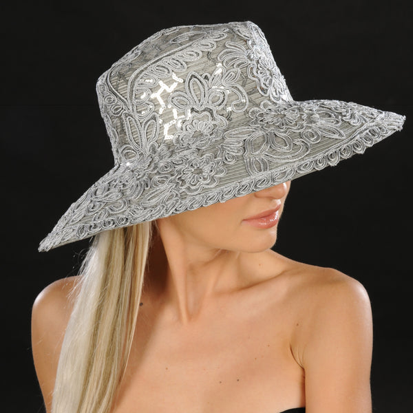 SG5031-Silver wide brim ladies dress hat - SHENOR COLLECTIONS