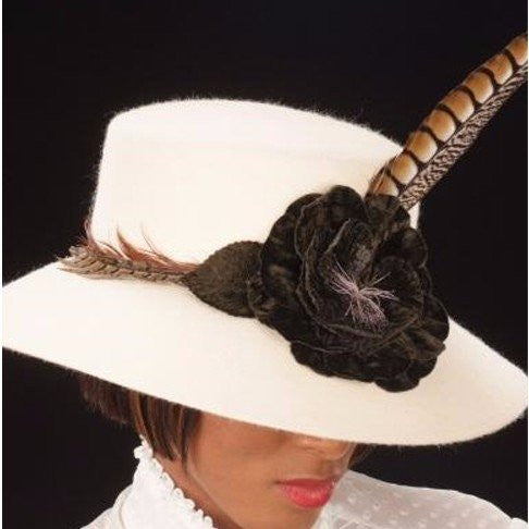 FW1109- Off White Cream felt brown velvet flower and feathers - SHENOR COLLECTIONS