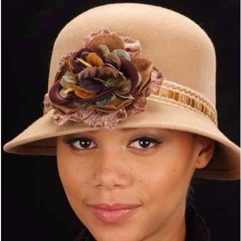 FW1105-Camel Color felt with velvet flower - SHENOR COLLECTIONS