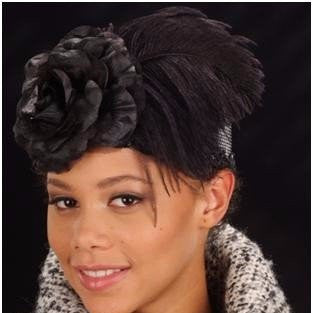 F3003-Pill Box dress hat With Ostrich Feather/Flower - SHENOR COLLECTIONS