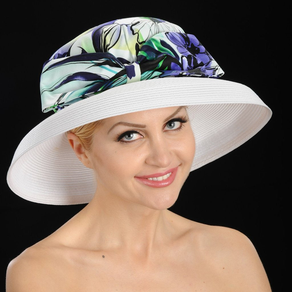 SS9011- Classy wedding hat covered with floral fabric and large bow