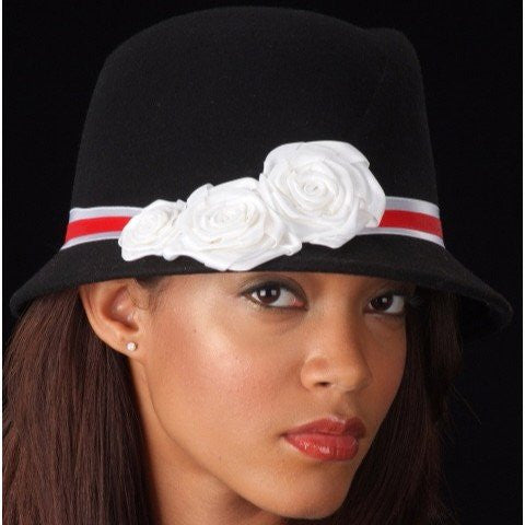 FW1129  Ladies White And Red Velvet Trims With Small Satin Flowers - SHENOR COLLECTIONS