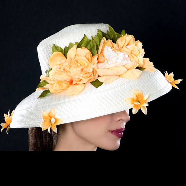 NA0641- Ladeis cream dress hat with flowers