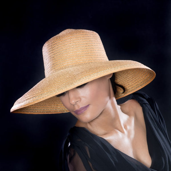 UF6024- Gold  wide brim dress hat for women