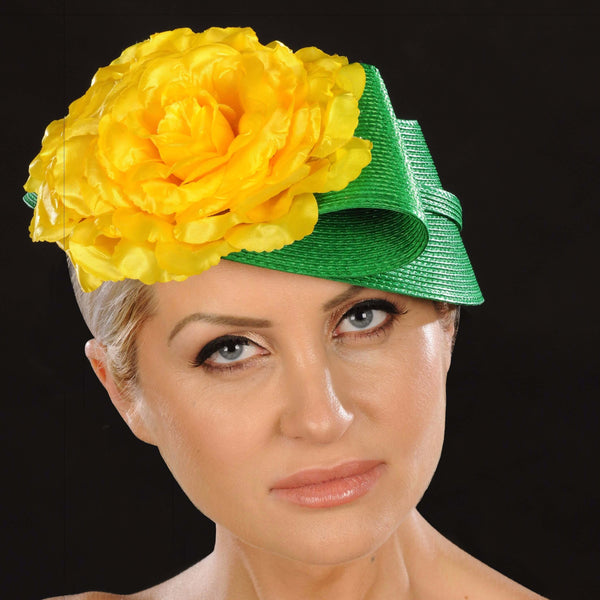 NA1057- Green straw fascinator with yellow flower - SHENOR COLLECTIONS