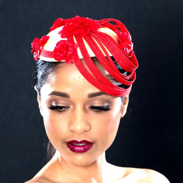 F6037- Ladies red and yellow fascinator