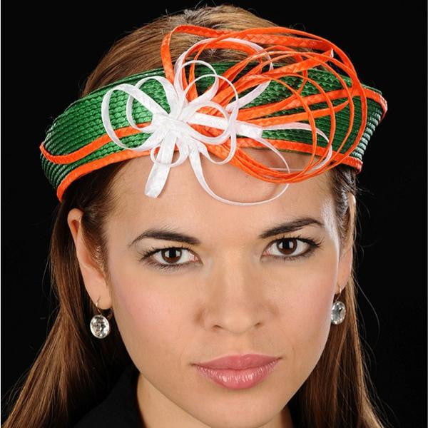NA1016-Green white fascinator straw  with orange and white design - SHENOR COLLECTIONS