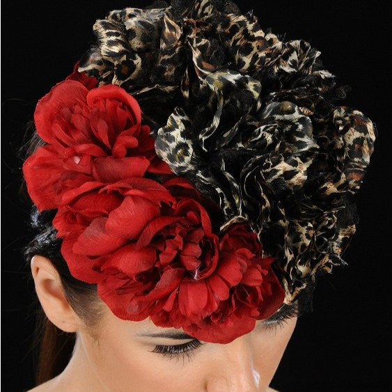 NA1021-Animal print/red flowers cocktail hat - SHENOR COLLECTIONS