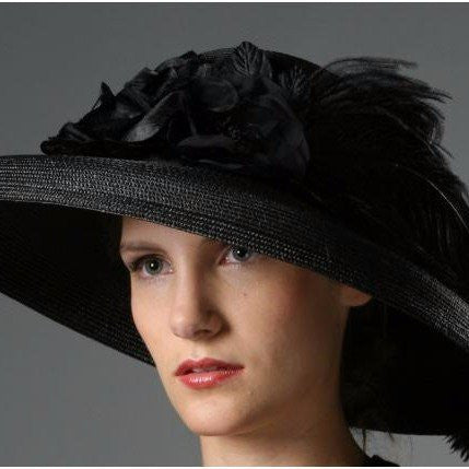 F3001- Wide brim ladies hat with Silk Flower/Ostrich Feather