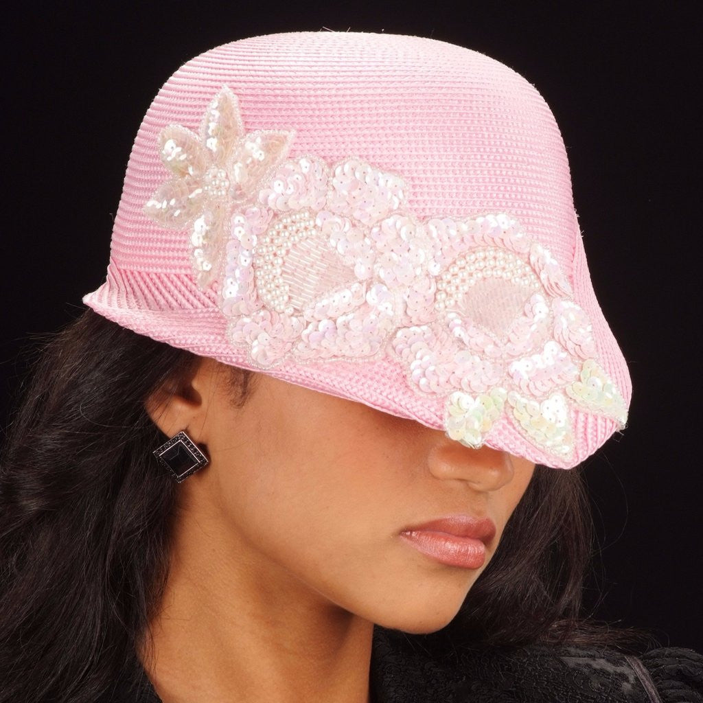 OE8012- Baby pink fashion hat straw with sequin flower appilque - SHENOR COLLECTIONS