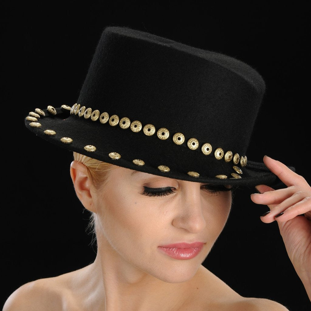 FW1124 Black felt winter hat with gold button trim design