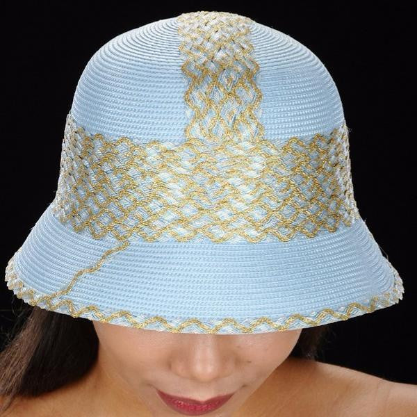 The best ladies straw dress hat in baby blue and gold trim