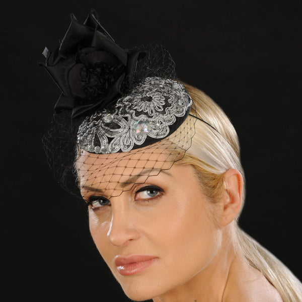 F6040- Silver and black fascinator for women - SHENOR COLLECTIONS