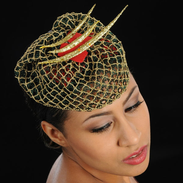 FW1132 Red felt ladies fascinator design with green and gold fabric - SHENOR COLLECTIONS