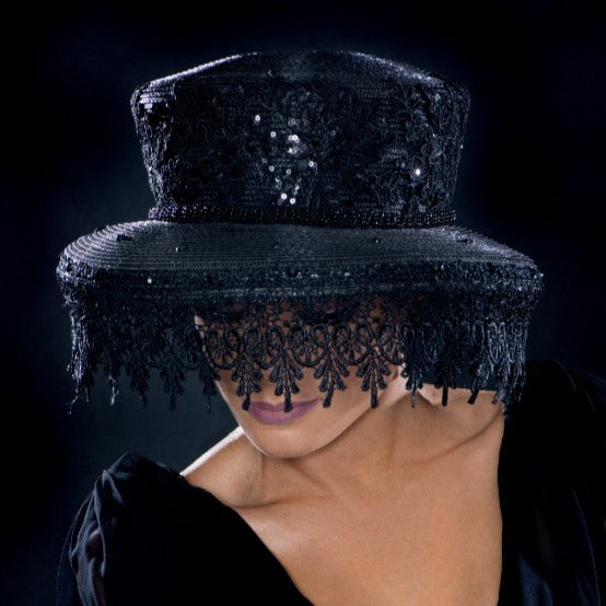 57760- Lace veil funeral dress hat for women