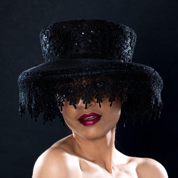 NA57760- Lace veil funeral dress hat for women