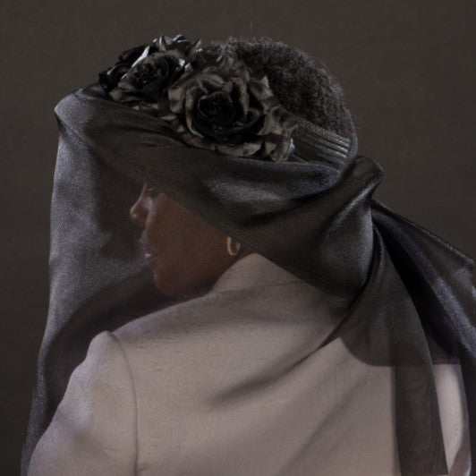 BW9040-Ladies funeral black dress hat with  veil
