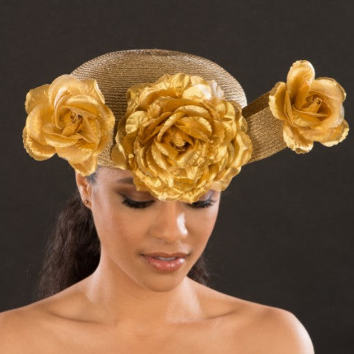 NA1067-Ladies gold straw church hat with flowers - SHENOR COLLECTIONS