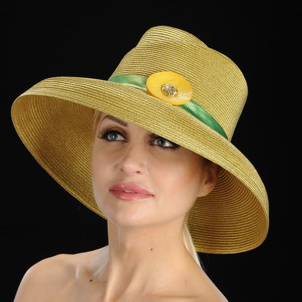 ladies gold church hats with green trim and button