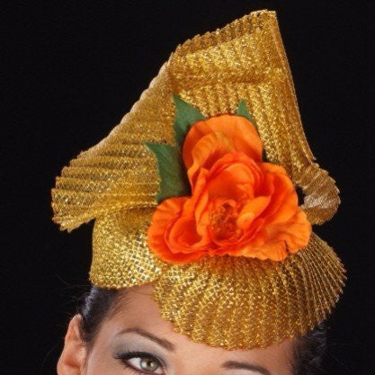 F6005-Gold horse hair with orange flower fascinator - SHENOR COLLECTIONS