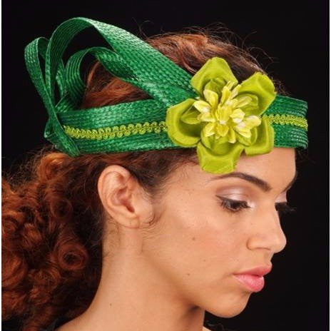 F60010-Green straw fascinator with satin flower - SHENOR COLLECTIONS