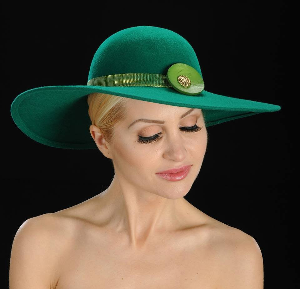 dress hats, winter ladies hats, Ladies Green felt with  large button