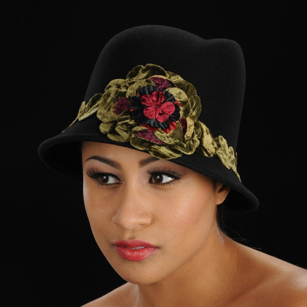 FW1128 Black ladies felt hat with velvet green flower and trim - SHENOR COLLECTIONS